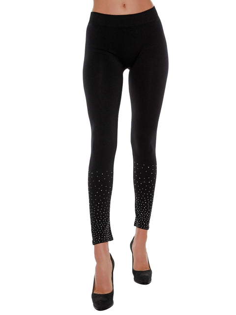 Seamless Leggings with Scattered Rhinestones
