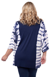 3/4 Kimono Sleeve Open Front Tie-Dye Cardigan with Silver Grommet Placket Detail - Plus Size NAVY
