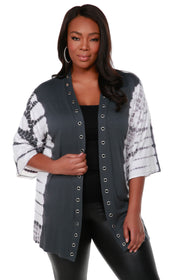 3/4 Kimono Sleeve Open Front Tie-Dye Cardigan with Silver Grommet Placket Detail - Plus Size SLATE GREY