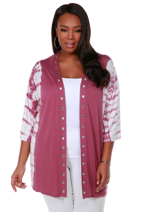 3/4 Kimono Sleeve Open Front Tie-Dye Cardigan with Silver Grommet Placket Detail - Plus Size VELVET MAUVE