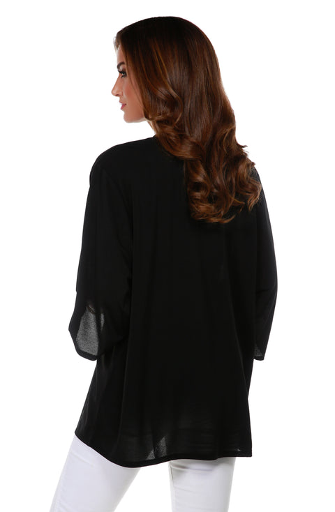 3/4 Kimono Sleeve Open-Front Cardigan with Golden Grommets Detail on Placket BLACK