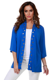 3/4 Kimono Sleeve Open-Front Cardigan with Golden Grommets Detail on Placket CERULEAN BLUE
