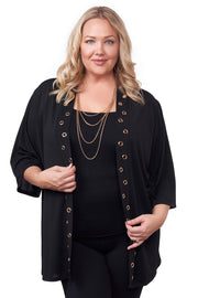 3/4 Kimono Sleeve Open-Front Cardigan with Golden Grommets Detail on Placket - Plus Size BLACK