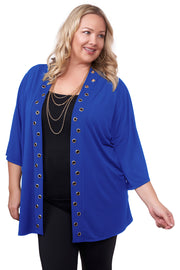 3/4 Kimono Sleeve Open-Front Cardigan with Golden Grommets Detail on Placket - Plus Size CERULEAN BLUE