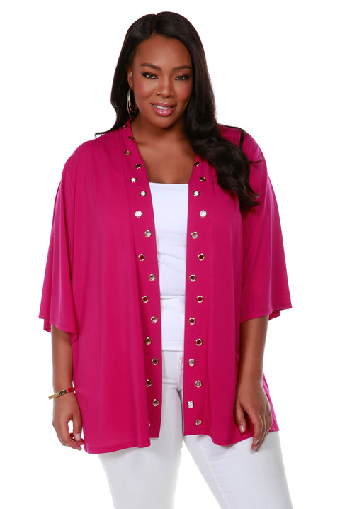 3/4 Kimono Sleeve Open-Front Cardigan with Golden Grommets Detail on Placket - Plus Size LIPSTICK
