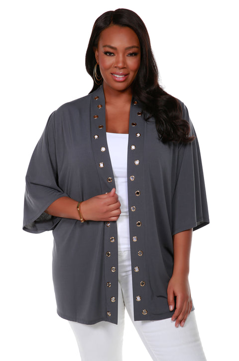 3/4 Kimono Sleeve Open-Front Cardigan with Golden Grommets Detail on Placket - Plus Size SLATE GREY