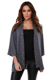 3/4 Kimono Sleeve Open-Front Cardigan with Golden Grommets Detail on Placket SLATE GREY