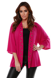 3/4 Kimono Sleeve Open-Front Cardigan with Golden Grommets Detail on Placket LIPSTICK