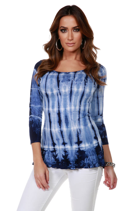 3/4 Sleeve Tie-Dye Tunic with Peplum and Rhinestone Trim Detail NAVY