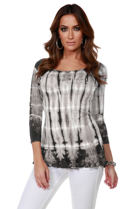 3/4 Sleeve Tie-Dye Tunic with Peplum and Rhinestone Trim Detail SLATE GREY