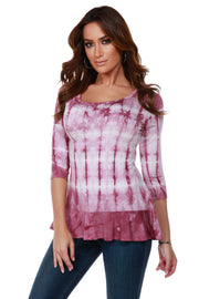 3/4 Sleeve Tie-Dye Tunic with Peplum and Rhinestone Trim Detail VELVET MAUVE