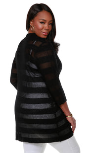 3/4 Sleeve Mesh Stripe Duster Open-Front Cardigan - Plus Size BLACK