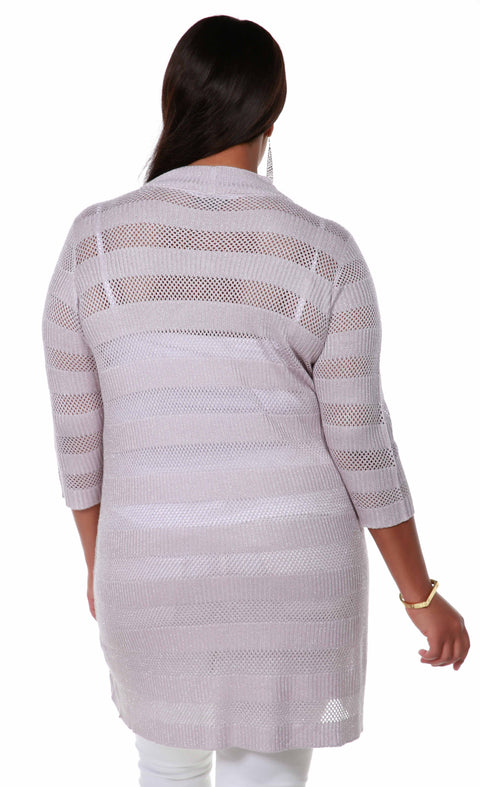 3/4 Sleeve Mesh Stripe Duster Open-Front Cardigan - Plus Size PALE LILAC SILVER