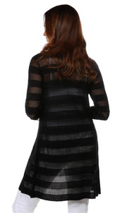 3/4 Sleeve Mesh Stripe Duster Open-Front Cardigan BLACK