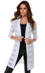 3/4 Sleeve Mesh Stripe Duster Open-Front Cardigan WHITE SILVER