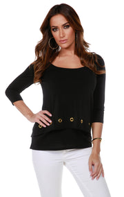 3/4 Sleeve Double-Layer Top with Grommet Trim on Top Layer Hem BLACK
