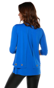 3/4 Sleeve Double-Layer Top with Grommet Trim on Top Layer Hem  CERULEAN BLUE