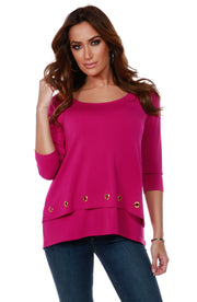 3/4 Sleeve Double-Layer Top with Grommet Trim on Top Layer Hem  LIPSTICK