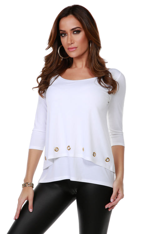3/4 Sleeve Double-Layer Top with Grommet Trim on Top Layer Hem WHITE