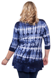 3/4 Sleeve Tie-Dye Tunic with Peplum and Rhinestone Trim Detail - Plus Size NAVY