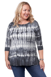 3/4 Sleeve Tie-Dye Tunic with Peplum and Rhinestone Trim Detail - Plus Size SLATE GREY