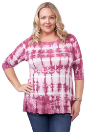 3/4 Sleeve Tie-Dye Tunic with Peplum and Rhinestone Trim Detail - Plus Size VELVET MAUVE