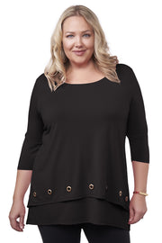 3/4 Sleeve Double-Layer Top with Grommet Trim on Top Layer Hem - Plus Size BLACK