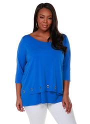 3/4 Sleeve Double-Layer Top with Grommet Trim on Top Layer Hem - Plus Size CERULEAN BLUE