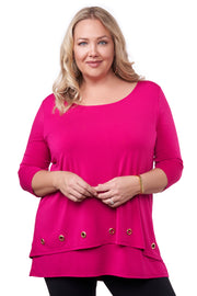 3/4 Sleeve Double-Layer Top with Grommet Trim on Top Layer Hem - Plus Size LIPSTICK