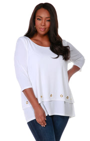 3/4 Sleeve Double-Layer Top with Grommet Trim on Top Layer Hem - Plus Size WHITE