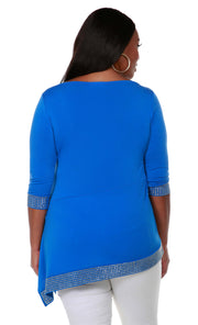 Asymmetrical V-Neck Tunic with Gold Trim Bottom Band and Sleeve Cuffs - Plus Size CERULEAN BULE