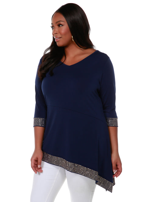 Asymmetrical V-Neck Tunic with Gold Trim Bottom Band and Sleeve Cuffs - Plus Size NAVY