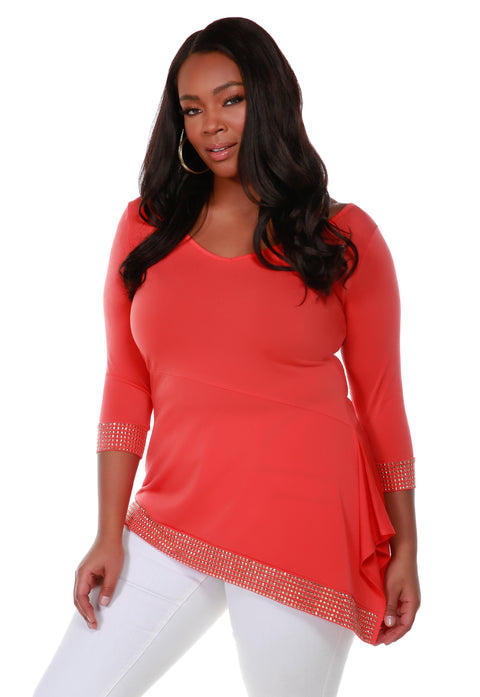 Asymmetrical V-Neck Tunic with Gold Trim Bottom Band and Sleeve Cuffs - Plus Size PAPAYA PUNCH