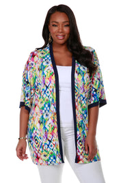 Long Sleeve Printed Kimono Cardigan - Plus Size KALEIDOSCPE NAVY