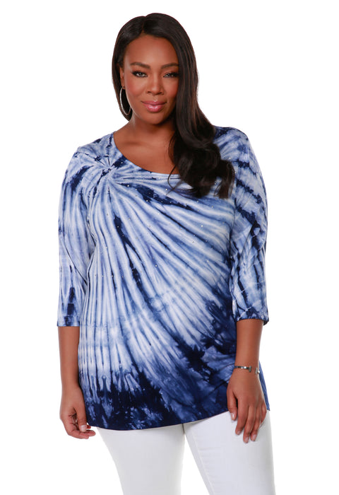 Long Sleeve Tie-Dye Pullover Top - Plus Size NAVY