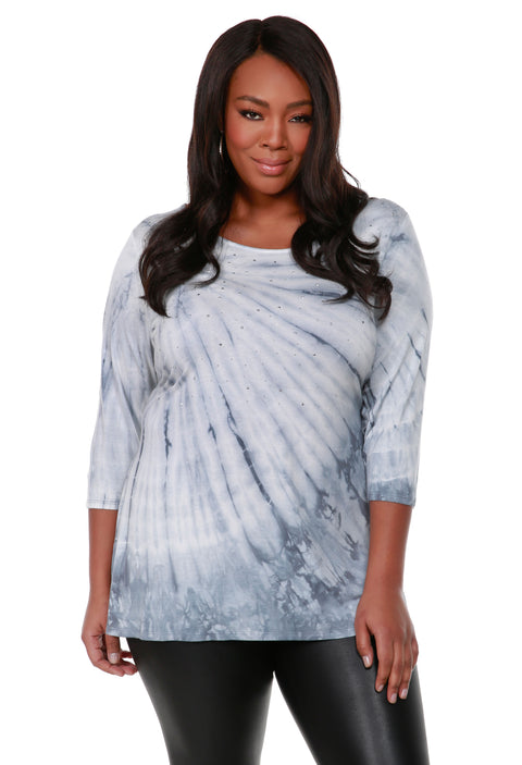 Long Sleeve Tie-Dye Pullover Top - Plus Size SLATE GREY