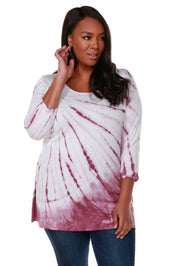 Long Sleeve Tie-Dye Pullover Top - Plus Size VELVET MAUVE