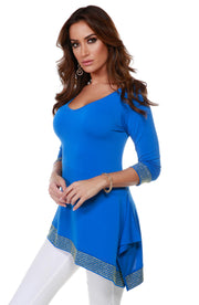 Asymmetrical V-Neck Tunic with Gold Trim Bottom Band and Sleeve Cuffs CERULEAN BLUE
