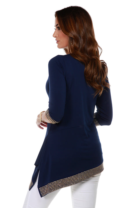 Asymmetrical V-Neck Tunic with Gold Trim Bottom Band and Sleeve Cuffs NAVY