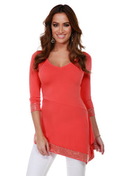 Asymmetrical V-Neck Tunic with Gold Trim Bottom Band and Sleeve Cuffs PAPAYA PUNCH