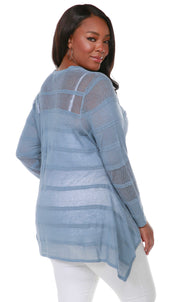 Button Front Cardigan with Striped Stitch Detail and Handkerchief Hemline - Plus Size ANTIQUE BLUE