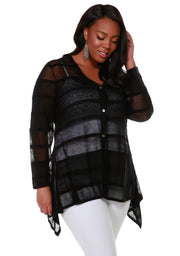 Button Front Cardigan with Striped Stitch Detail and Handkerchief Hemline - Plus Size BLACK