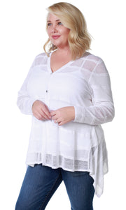 Button Front Cardigan with Striped Stitch Detail and Handkerchief Hemline - Plus Size WHITE