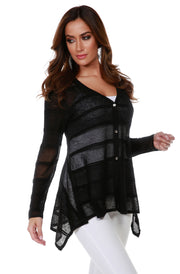 Button Front Cardigan with Striped Stitch Detail and Handkerchief Hemline BLACK