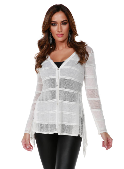 Button Front Cardigan with Striped Stitch Detail and Handkerchief Hemline WHITE