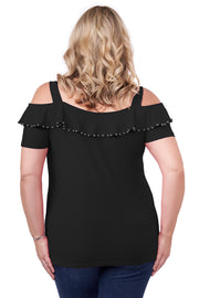 Cold Shoulder Tunic with Shiny Metal Pearl Trim Embellished on Neck Ruffle - Plus Size BLACK