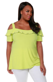 Cold Shoulder Tunic with Shiny Metal Pearl Trim Embellished on Neck Ruffle - Plus Size KEY LIME
