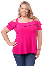 Cold Shoulder Tunic with Shiny Metal Pearl Trim Embellished on Neck Ruffle - Plus Size LIPSTICK