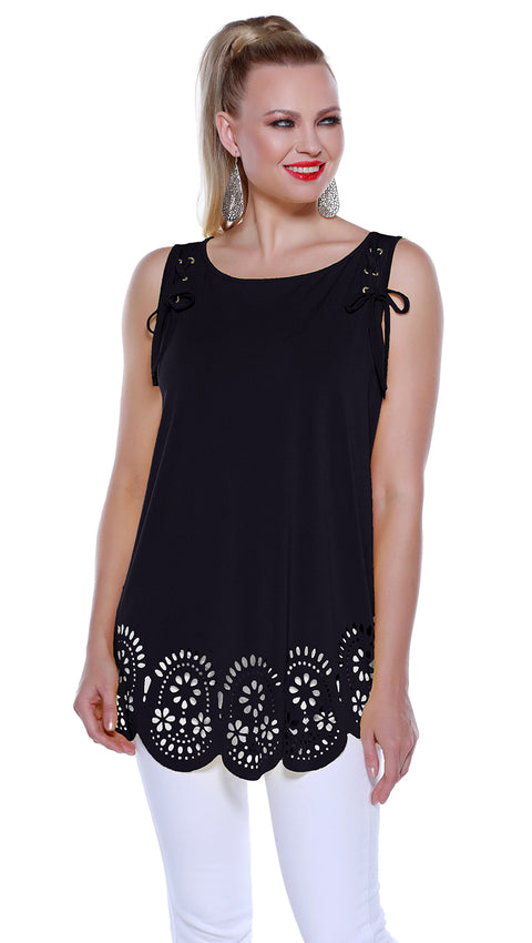 Flowy Pullover Tank with Laser Cutouts and Laced Shoulders BLACK
