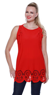 Flowy Pullover Tank with Laser Cutouts and Laced Shoulders BLOOD ORANGE